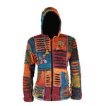 Nepal Patchwork Kapuzenjacke mit Fleece in orange mix