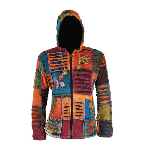 Nepal Patchwork Kapuzenjacke mit Fleece - orange mix