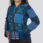 Nepal Patchwork Jacke mit Fleece | blau/violett Mix