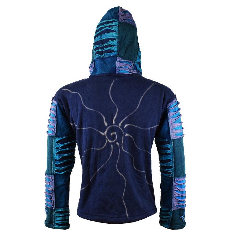 Nepal Patchwork Jacke mit Fleece blauviolett Mix