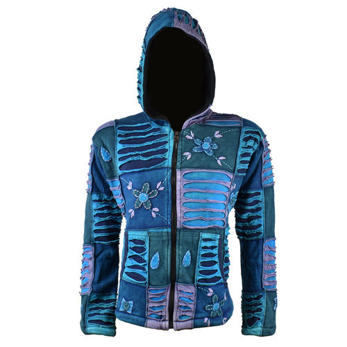 Nepal Patchwork Jacke mit Fleece - blau/violett Mix