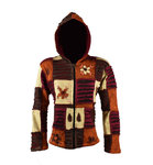 Nepal Patchwork Jacke mit Fleece - erdton mix